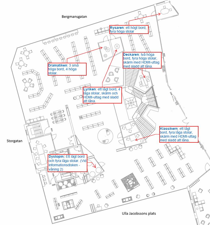 Karta över grupprummen på Mölndals stadsbibliotek