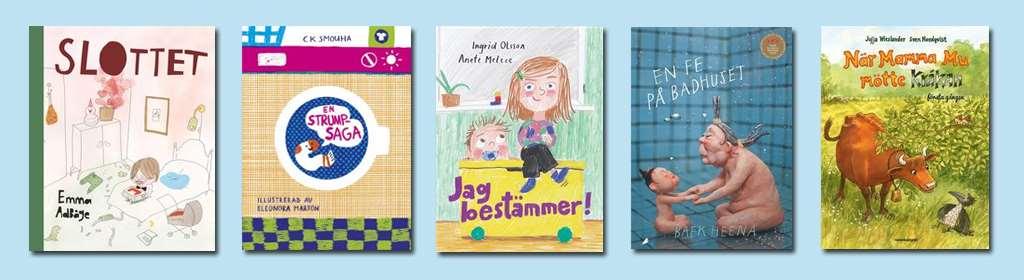 Bokomslag fem bilderböcker för högläsning